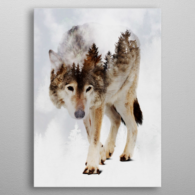 Wolf and Forest 7 metal poster