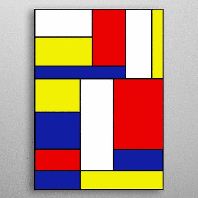 Abstract geometric neoplastic design inspired by the work of Piet Mondriaan by Ron Trickett metal poster