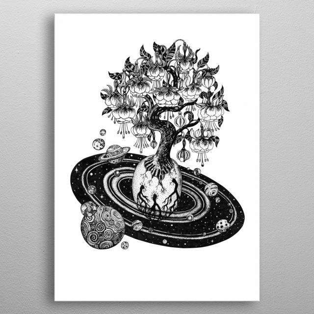 The egg of the beginning. The tree of life, the start of universe. The power of growth energy. Ink line work on paper. metal poster