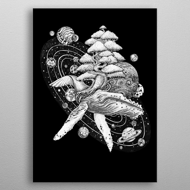 Space whale tree of life our planet Earth floating in the ocean of galaxies and stars. metal poster