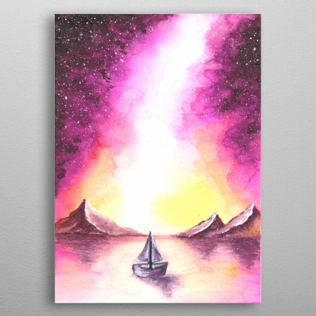 Aquarelle By hand horizon metal poster