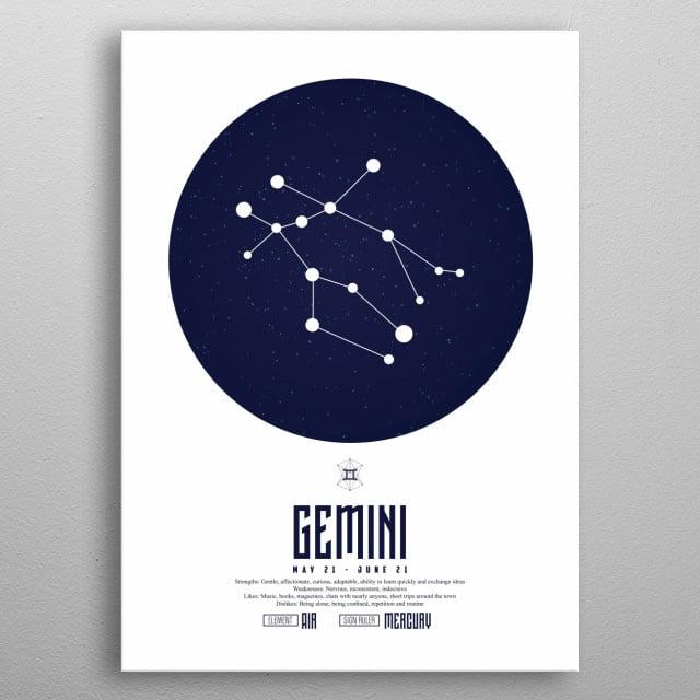 Zodiac - Gemini - Sign - Horoscope - Spirituel - Poster - Print metal poster