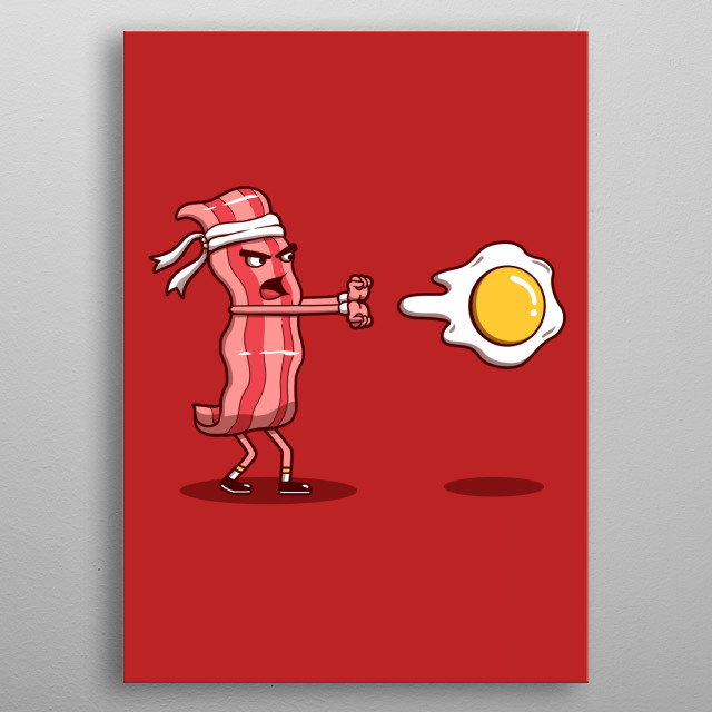 Your favorite breakfast in an iconic retro video game pose. metal poster