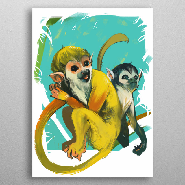 Two monkeys  metal poster