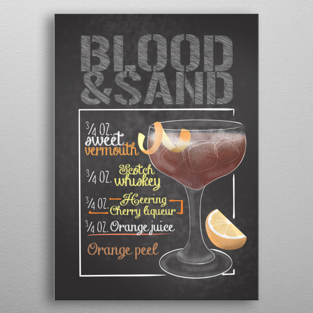 This Blood & Sand Cocktail Poster is perfect for people who drink and love cocktails. A gift for barkeeper and wall decor for restaurants.   metal poster