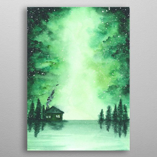 Aquarelle by hand nature metal poster