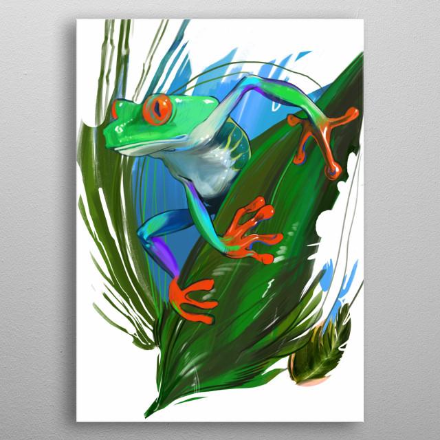 Red-eyed tree frog metal poster