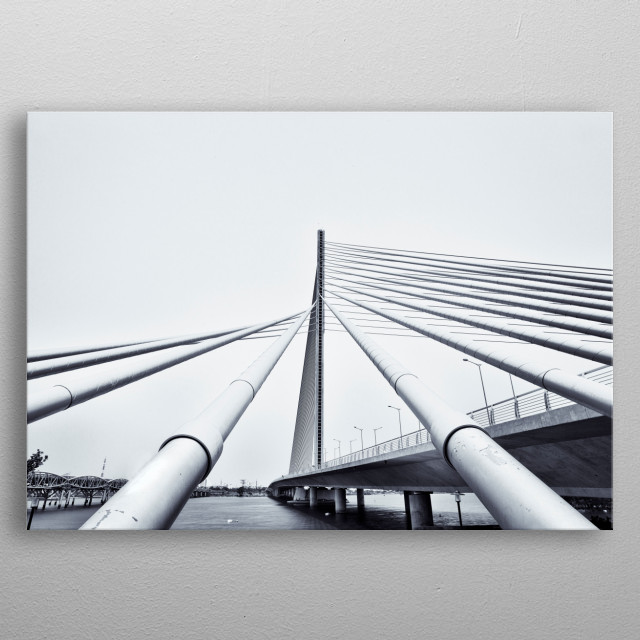 Black and white photography of modern architectural bridge in Danang Vietnam metal poster
