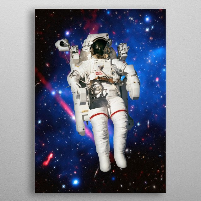 NASA astronaut with a background of the constellation Auriga metal poster