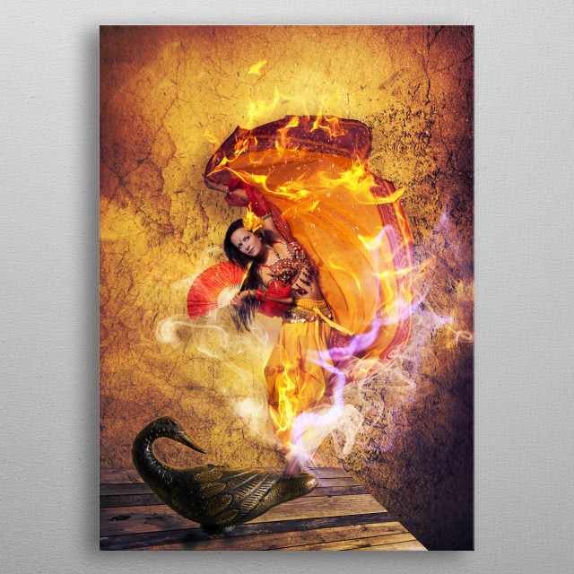 Fairy creature from oriental myths. metal poster