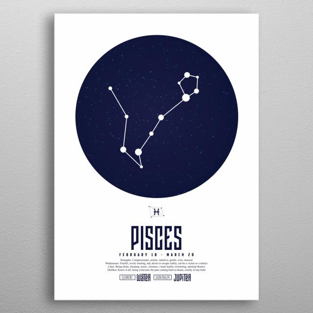 Zodiac - Pisces - Sign - Horoscope - Spirituel - Poster - Print metal poster