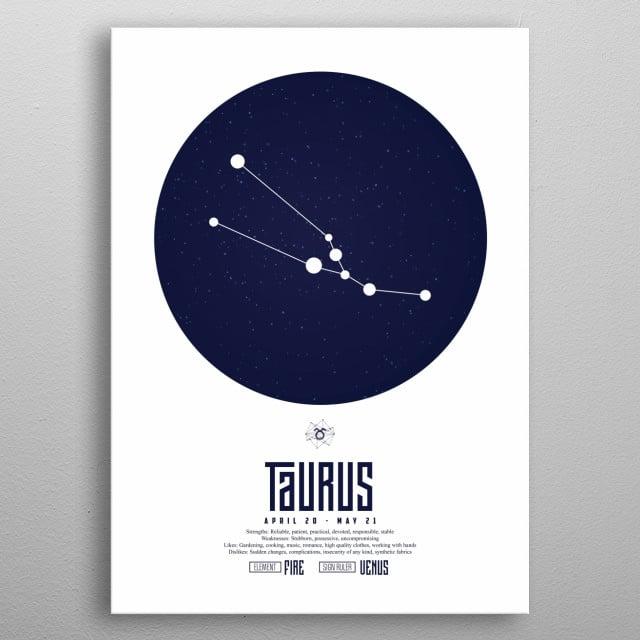 Zodiac - Taurus - Sign - Horoscope - Spirituel - Poster - Print metal poster