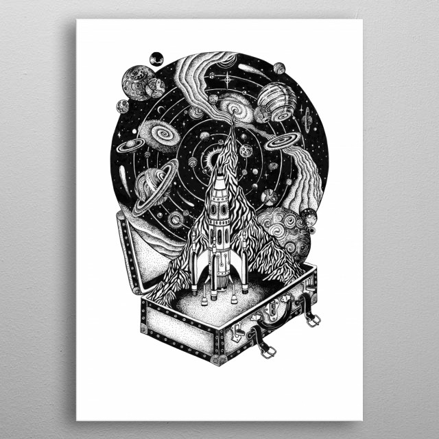 Space travel! Are you coming to Mars with SpaceX? The time is coming for space adventure. metal poster