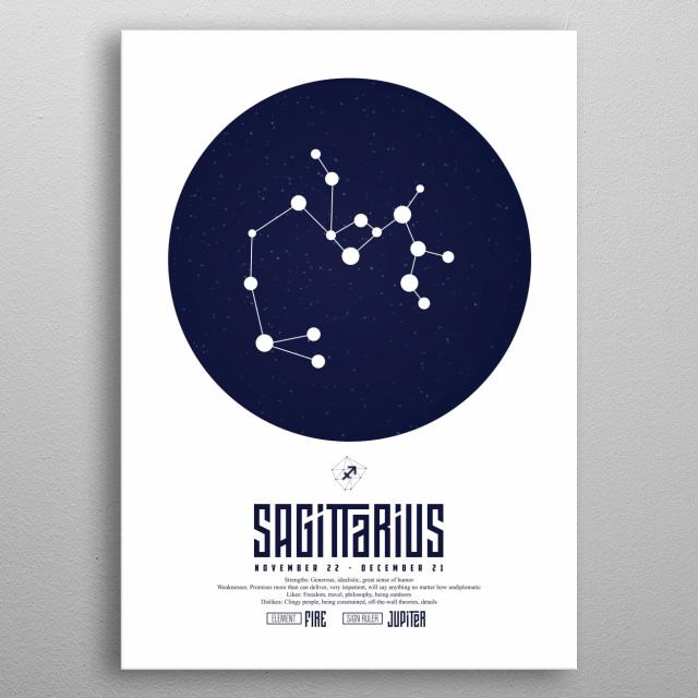 Zodiac - Sagittarius - Sign - Horoscope - Spirituel - Poster - Print metal poster