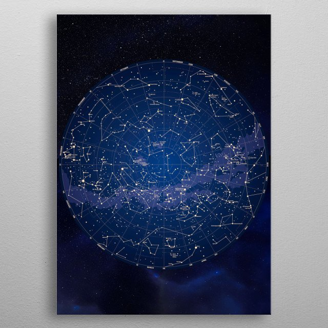 Constellations Map Stars for astronomy lovers  metal poster