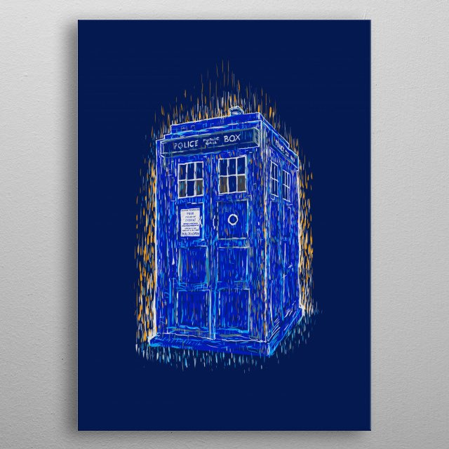 a tardis in a Vincent Van Gogh style metal poster