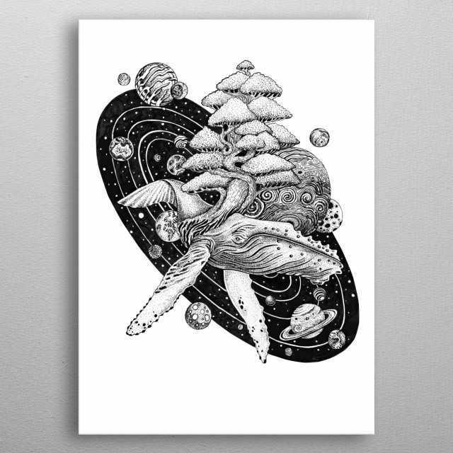 Tree of life whale on White metal poster