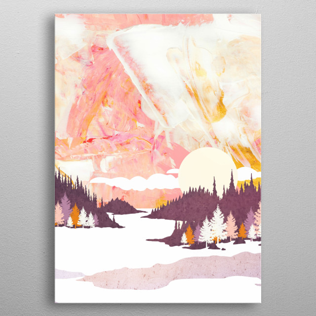 Abstract winter landscape with snow, trees and mountains metal poster