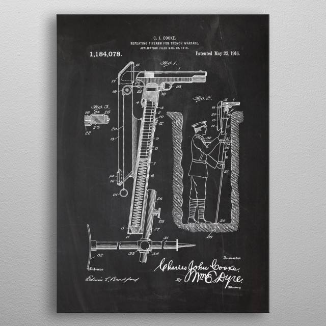 1916 Repeating Firearm - Patent Drawing metal poster