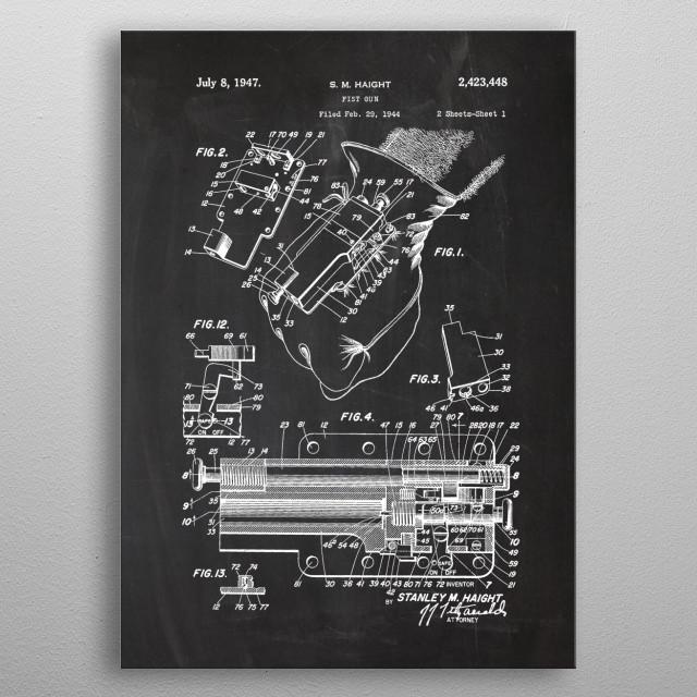 1944 Fist Gun - Patent Drawing metal poster