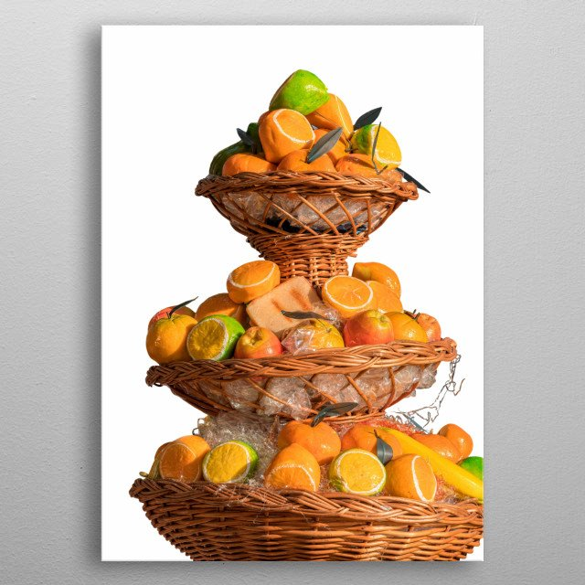 isolated basket of fruit at holidays metal poster