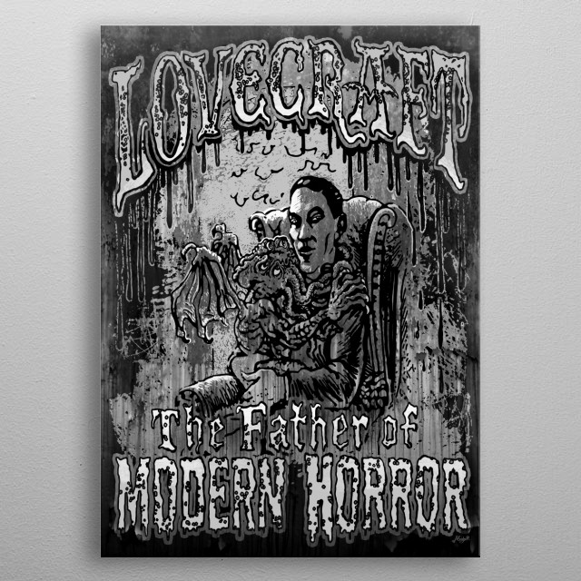 H. P. Lovecraft The Father of Modern Horror seated with Baby Cthulhu in his arms. Rad Gift Idea for Horror Fans of All Ages. metal poster