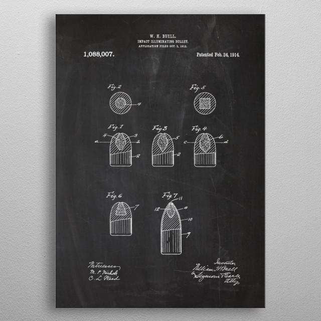1914 Impact Illuminating Bullet - Patent Drawing metal poster