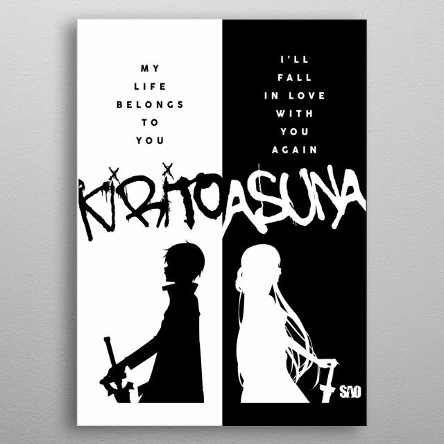 This is an illustration of the famous anime couple Kirito and Asuna. They are the main characters of the anime series Sword Art Online. metal poster