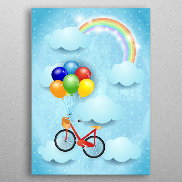 Surreal illustration with sky, clouds, rainbow,bike and balloons metal poster