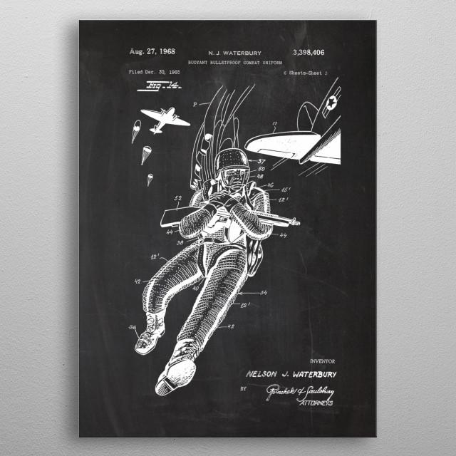 1965 Buoyant Bulletproof Combat Uniform-Patent Drawing metal poster