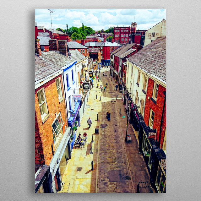 Old Stockport from the bridge. Looking down on an old street in Stockport in summer. metal poster