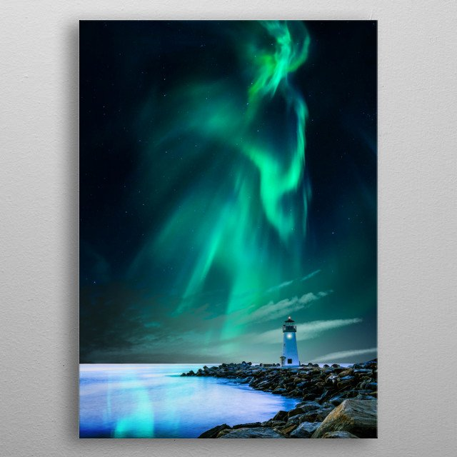 Lighthouse and the aurora metal poster