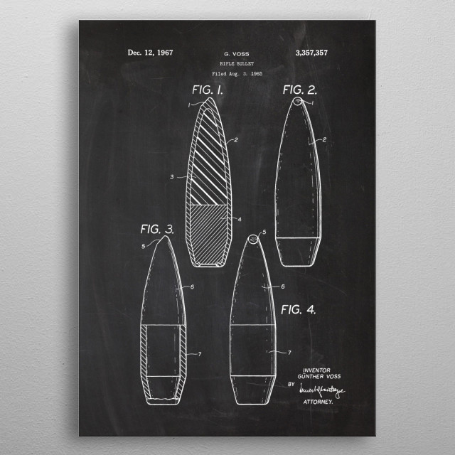 1965 Rifle Bullet - Patent Drawing metal poster