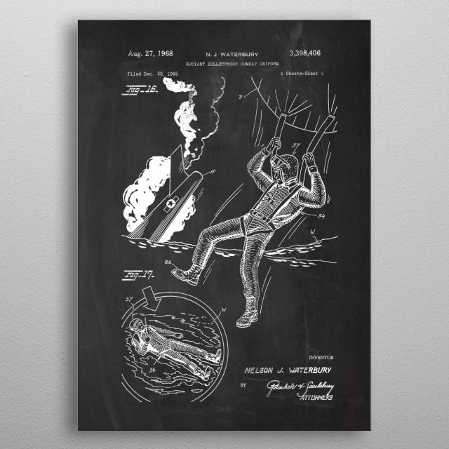 1965 Combat Uniform - Patent Drawing metal poster