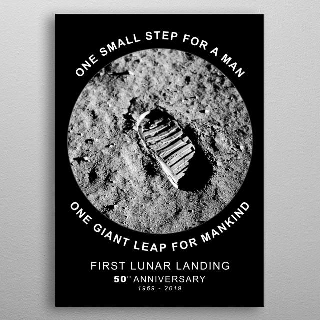 Apollo 11-50th Anniversary,Logo,Lunar Landing,Moon.Space-One small step for a men,one giant leap,for mankind-1969-2019, metal poster