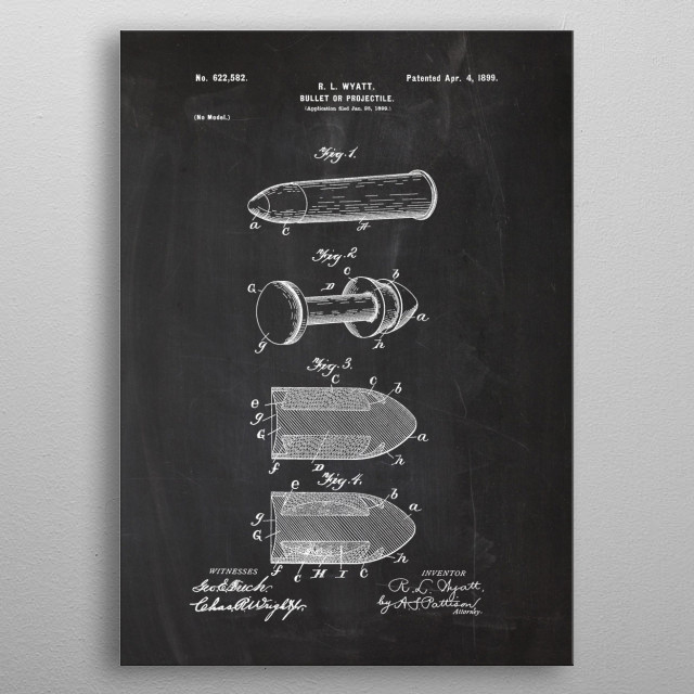 1899 Bullet or Projectile  - Patent Drawing metal poster