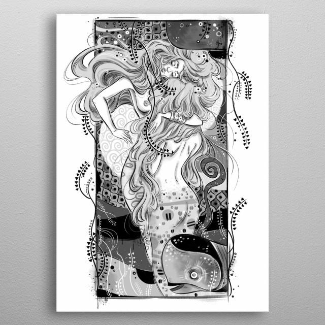 Gustav Klimt inspired illustration metal poster