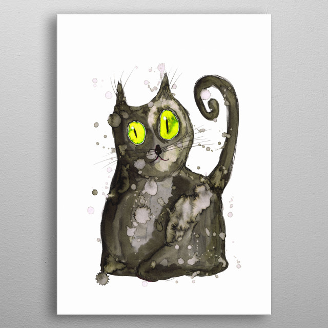 A watercolor painting af a fat black cat with green eyes. metal poster