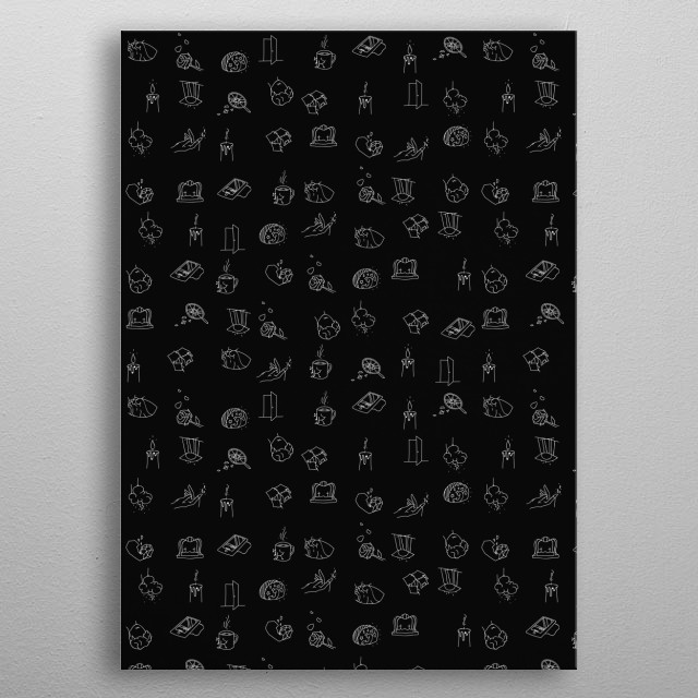 "All icons of the collection compiled together to create a seamless wallpaper design. Entitled ""Illusions"" as a way to tell if emotions are. metal poster"