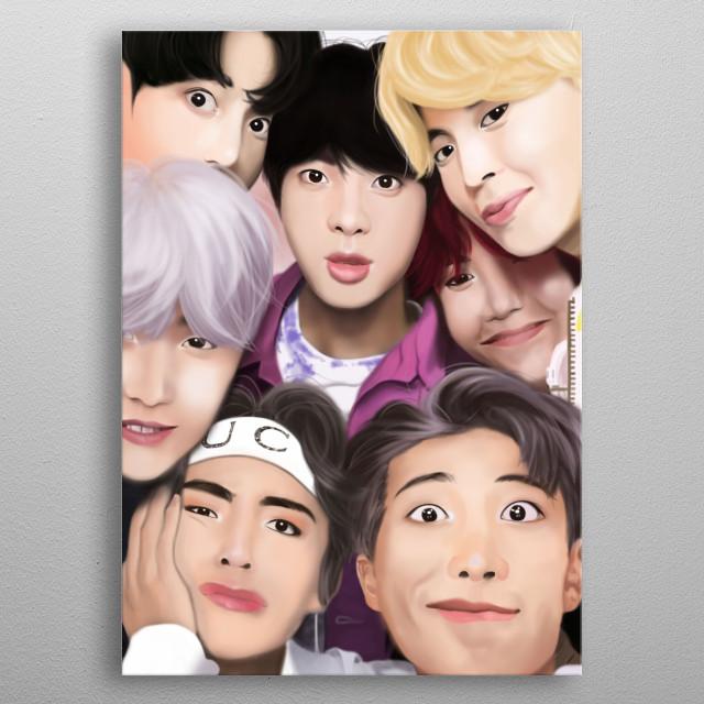 Illustration of Kpop boy band BTS.. metal poster