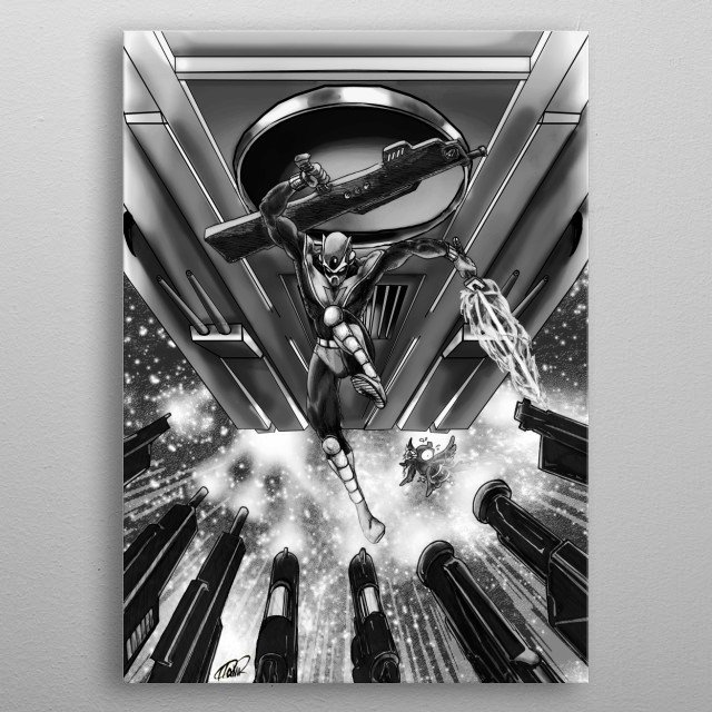 Ninja invader from outer space! taken from the music album '' La Guigne - Ninvader '' by KNK Underground Collections metal poster