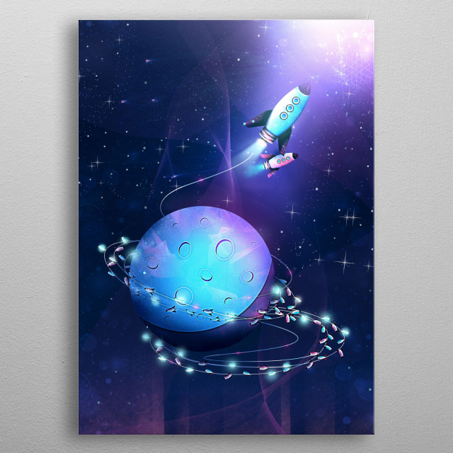 The light string rocket will rock the galaxy and lighten up the stars! Astronaut, take a celestial sky ride! metal poster