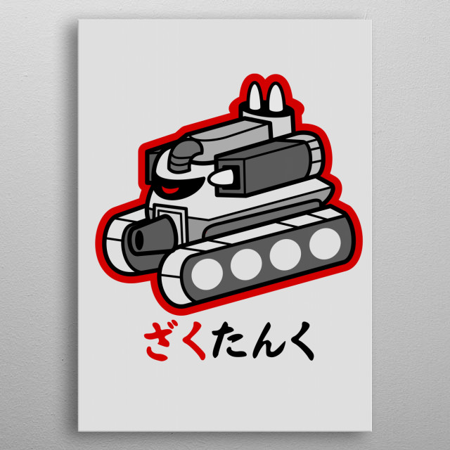 The latest version of the Zaku is able to transform from a mobile suit into a military tank, surpassing the Gundam in technology. metal poster