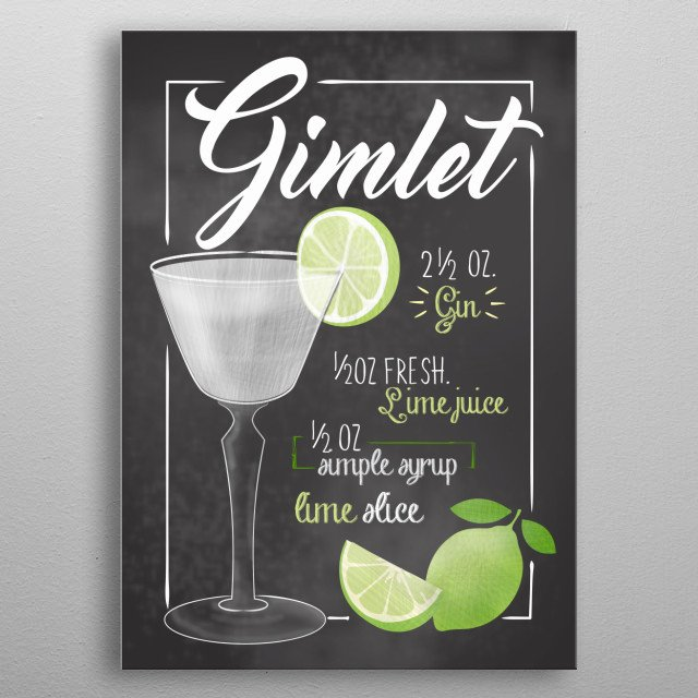 Cocktail Bar - The perfect gift for cocktail lovers barkeeper. Also cool wall decor canvas for Bars and Restaurants Gimlet metal poster