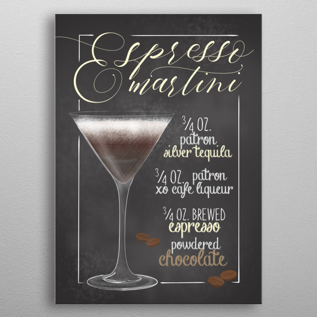 Cocktail Bar - The perfect gift for cocktail lovers barkeeper. Also cool wall decor canvas for Bars and Restaurants Espresso Martini metal poster