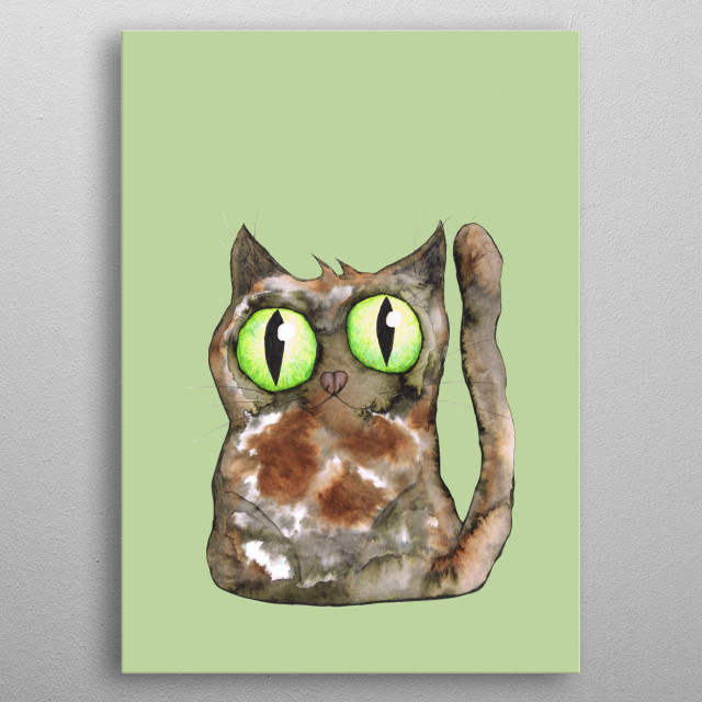 A watercolor of a cute tortoiseshell cat with big green eyes metal poster