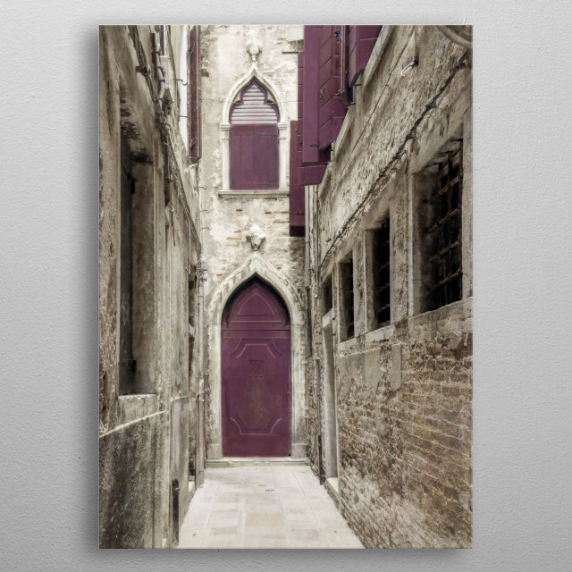 A Venetian valley of brick in tones of beige leads the eye to a door and open shutters. I've added a deep plum color and layers of texture.  metal poster