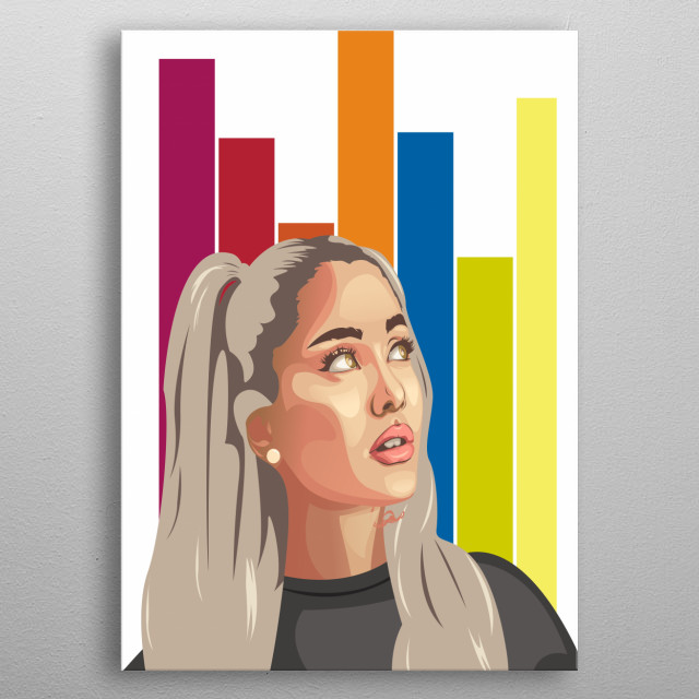 Ariana Grande is a famous American singer, this is her picture from Adidas Model. metal poster