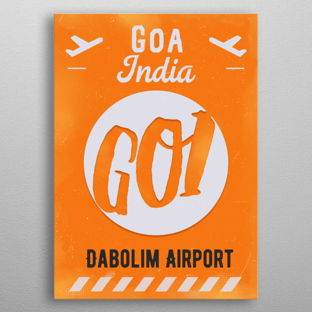Airport-style poster. metal poster