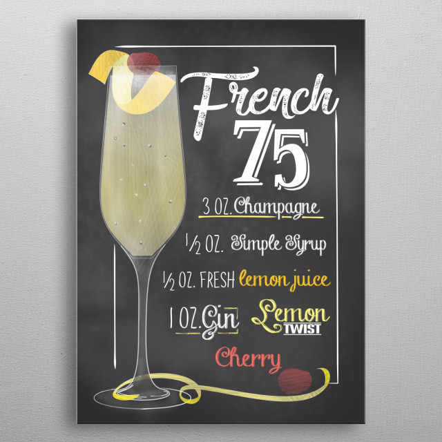 Cocktail Bar - The perfect gift for cocktail lovers barkeeper. Also cool wall decor canvas for Bars and Restaurants French 75 metal poster
